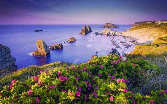 pantalla, fondos, paisaje, verano, costa, горы, paisajes, cvety, gratis,