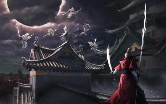 spear, воин, art, крыша, ninja, asian, eclipse, ночь, меч, оружие, девушка,