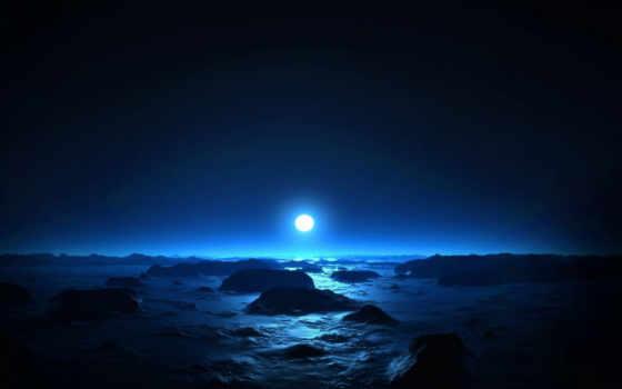 небо, красивый, dark, лет, луна, назад, лабиринт