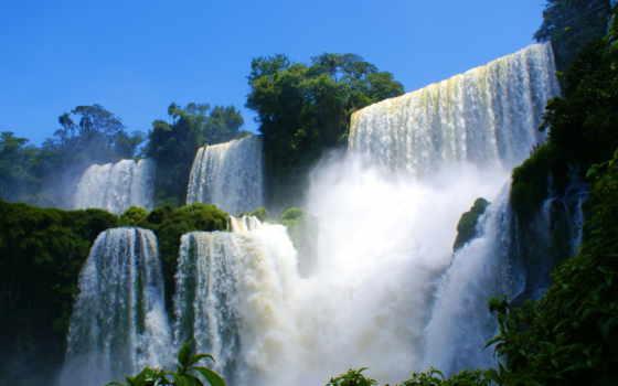 каскады, обрыв, водопад, лес, скалы, пороги, картинка, awesome,