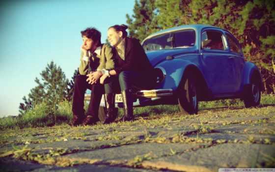 он и она, рассвет, руи, vw Beetle, лес, дорога, трава
