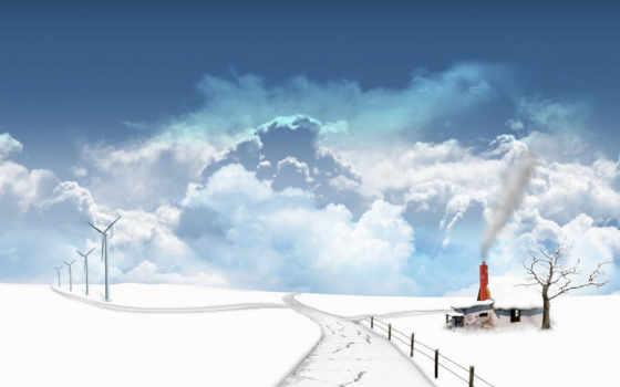 winter, дорога, природа