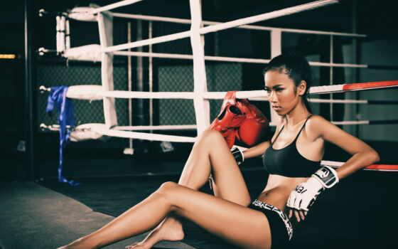 девушка, тренировочный, спорт