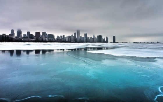 фото, город, chicago, здания, кб, дома, мост, закат, вечер,