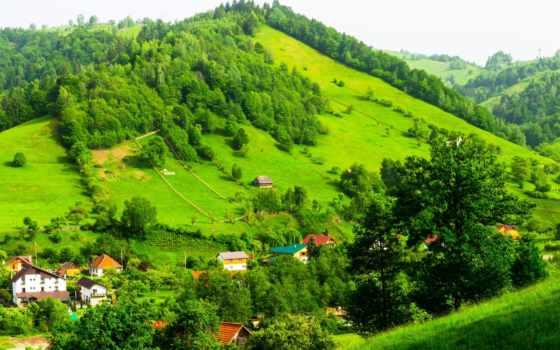 норвегия, hills, landscape, park, resort, houses, trees, tapety,