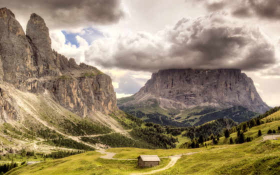 lodge, горы, pass, among, природа, долина, скал, пасмурный, со, gardena, гор,
