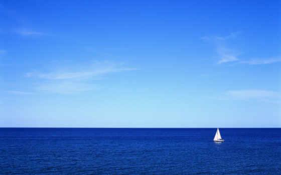 ocean, sailboat, море, небо, океане, открытом, water, sail, яхта, горизонт, корабль,