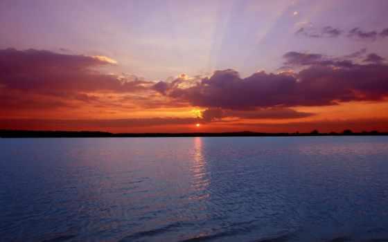 горизонт, море, природа, закат, страница, глубоководный, воде, смотреть, rays, bloom,
