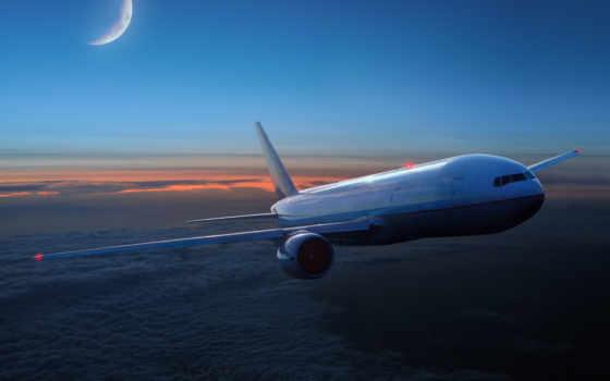 самолёт, авиация, oblaka, небе, month, силуэт, самолета, небо, полет,