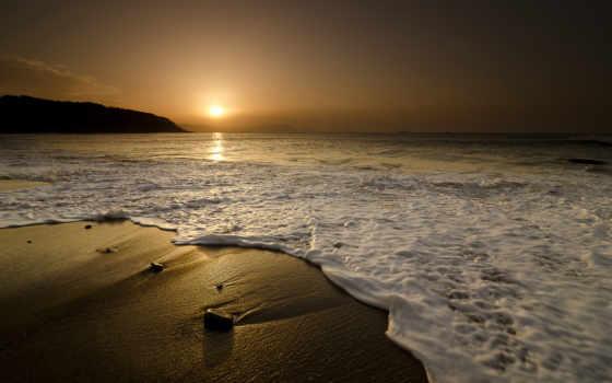 море, закат, песок, waves, камни, природа, пляж, landscape, sun, нежные,