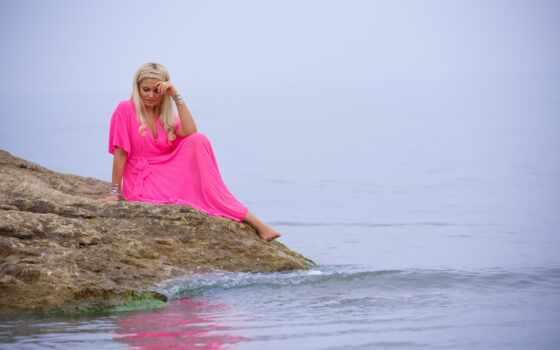 девушка, платье, волосы, глаза, lovely, sit, lakeside, розовый
