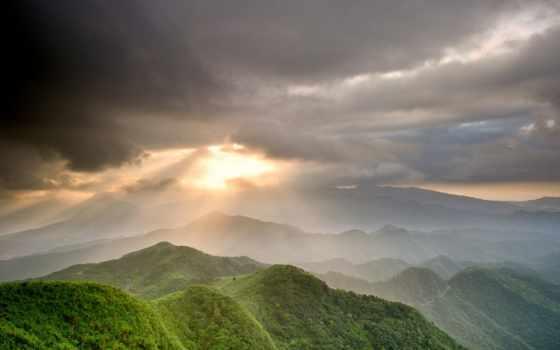 горы, лучи
