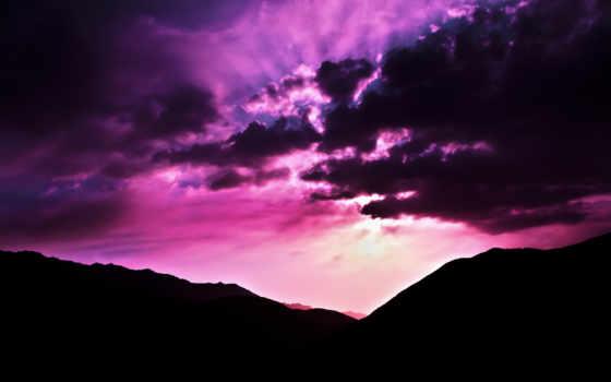 закат, розовое, небо