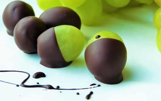 виноград, плоды, desktop, еда, yapbozu, chocolate, десерт, сладкое,