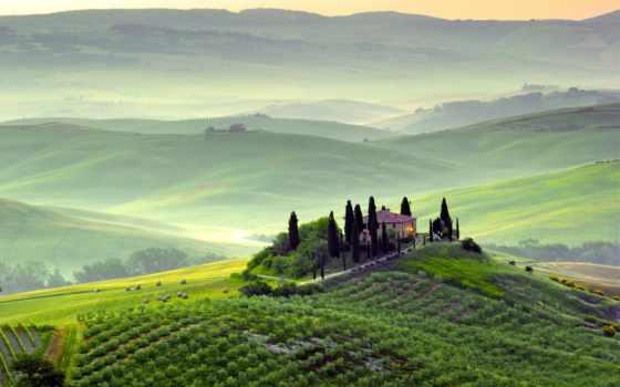 tuscany, italian, italy, landscape, margin, природа, trees,