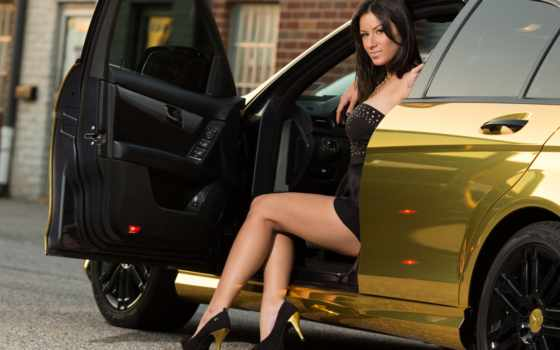 gold, mercedes, benz, девушка, brunette, car, class,