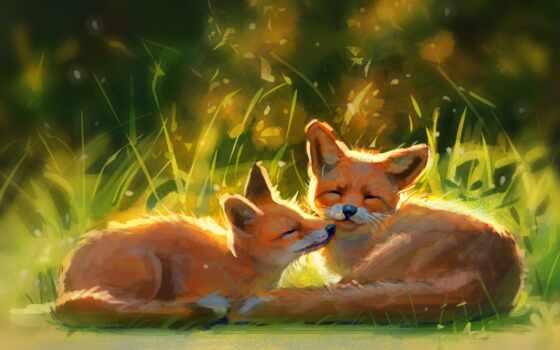фокс, art, cute, animal, alive, природа, different