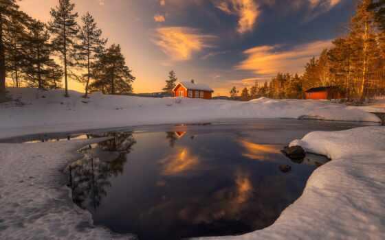 winter, снег, house, qish, заставка, landscape, природа, new, река, high