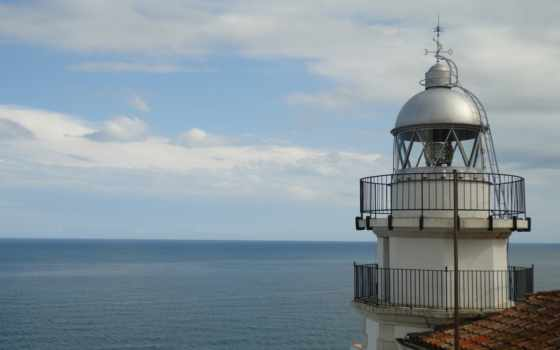 lighthouse, небо, море