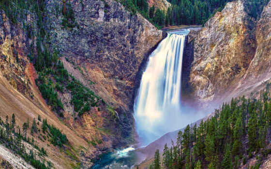 falls, park, yellowstone, lower, national, водопад, горы, поток, trees, водопады, природа,