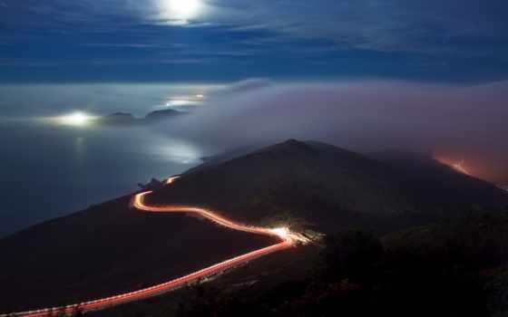 ночь, дорога, горы, ночное, highway, дороги, туман, лунная,
