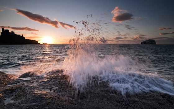 море, горизонт, distance, небо, категории, scotia, замки, заставки, природа, картинка, oblaka,