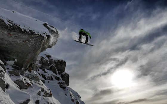 сноуборд, прыжок