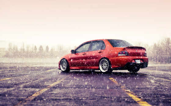 winter, mitsubishi, лансер, эволюция, evo, снег, машина, оранж, машины,