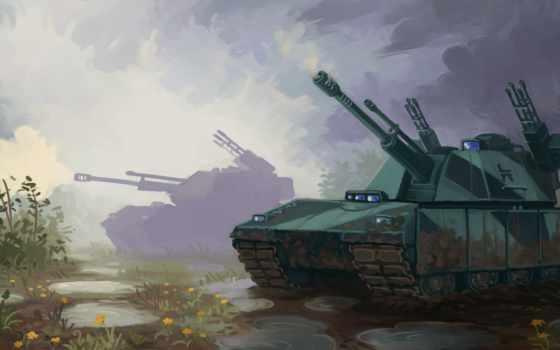 армия, desktop, танк, рисованные, пистолет, today,