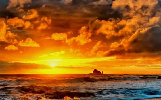закат, скалы, море, пляж, природа, небо,