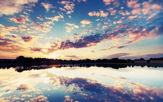 небо, озеро, отражение, oblaka, закат, природа, озере,