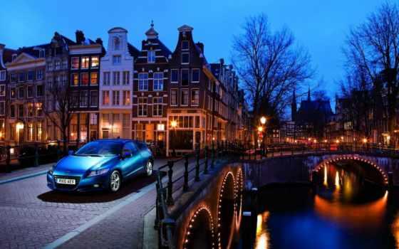 вечер, машина, города, здания, amsterdam, among, разных, высокие,