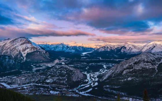 горы, гора, banff, закат, город, планшета, канадский,