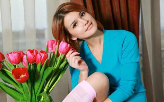 dina, violla, loading, flowers, тюльпан, модель, букет, hairstyle, tulips,