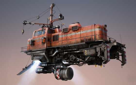 фантастика, flying, поезд, freightliner, механизм