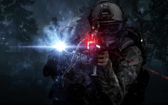 battlefield, солдат, оружие, game, дым, hardlain, line, art, компьютер