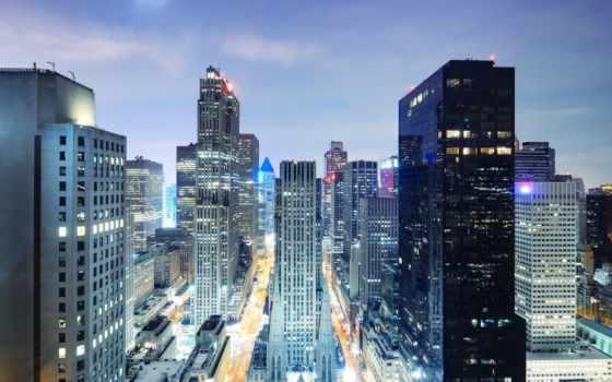 панорама, город, ночь, мегаполис, взгляд, свет, вид, небоскребы,