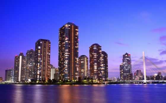 tokyo, япония, мегаполис, столица, вечер, небоскребы,