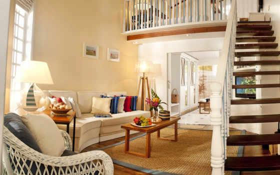 гостиной, design, лестницы, интерьер, лестницей, дома,