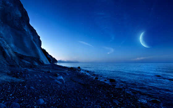 луна, горы, ночь
