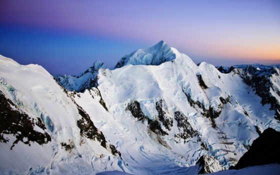 горы, небо, sneeuw, закат, bergen, снег, natuur, природа, zonsondergang,