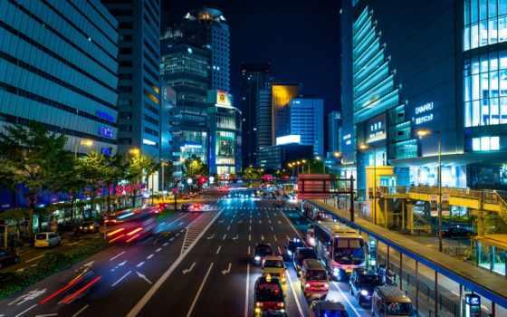 осака, город, japanese, ночь, улица, машины, дорога,