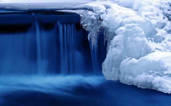 водопад, природа, winter, снег, река, лед,