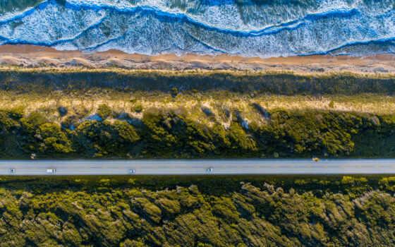 взгляд, aerial, пляж, ocean, drone, море, трава, water, asp, lance, природа