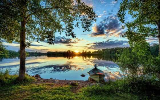 лодка, pazlyi, закат, motor, озеро, корабль, река, лес, финляндия, fore