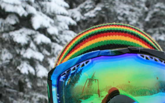 сноуборд, очки