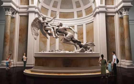 скульптура, музей, колоны, здание, статуя, люди,