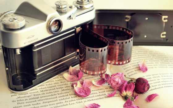 пленка, фотоаппарат, книга