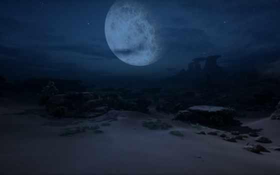 , горы, луна, ночь, камни,