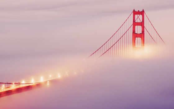 мост, туман, francisco, sana, огни, san, золотистый, gate,
